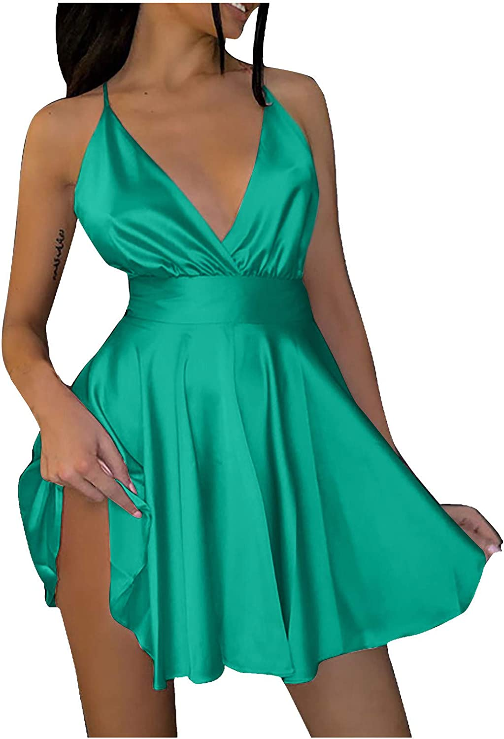 SSZZoo Women's Fashion Solid Color Cool V-Neck Bow Suspender Sleeveless Sexy Slim Dress(Green,M)