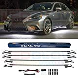 LEDGlow 4pc White Slimline LED Underbody Underglow Accent Neon Lighting Kit for Cars - Solid Color...