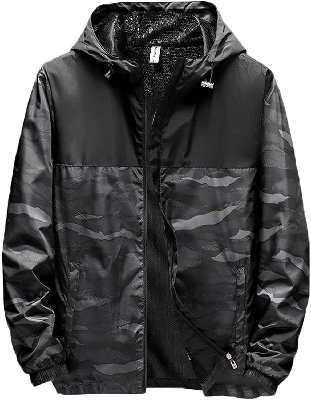 Mens Hooded Windbreaker Coats Lightweight Thin Slim Fit Waterproof Rain Jackets Outdoor Hiking Camping Outwears Tops