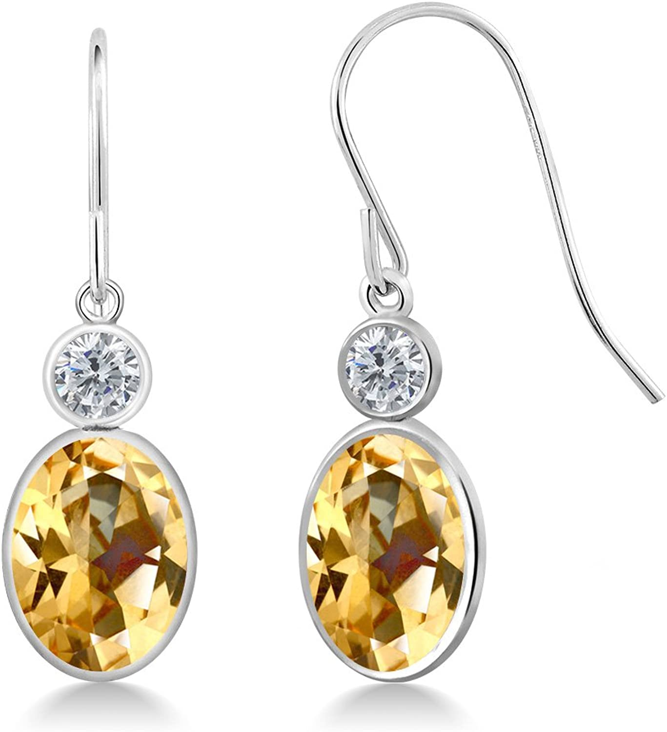 2.84 Ct Honey 14K White gold Earrings Natural Topaz Cut by Swarovski