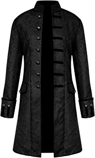 Zhhlaixing Mens Vintage Tailcoat Jacket Gothic Victorian Medieval Coat Cosplay Party Halloween Uniform Costume Outwear Overcoat