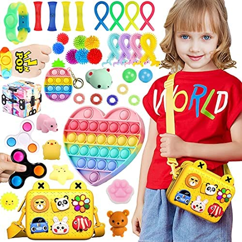 40 Pcs Fidget Toys Set Cheap Fidget Toys Box Set,Figetget toys set Bag,Sensory Relief Toys Set, Anxiety Relief Fidget Toys With Fidget Cube Fidget Spinners Stress & Sticky balls, Etc (Yellow)
