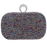 Bonjanvye Knuckles Shining Clutch Purses for Women Handbag and Evening Bags Multicolor