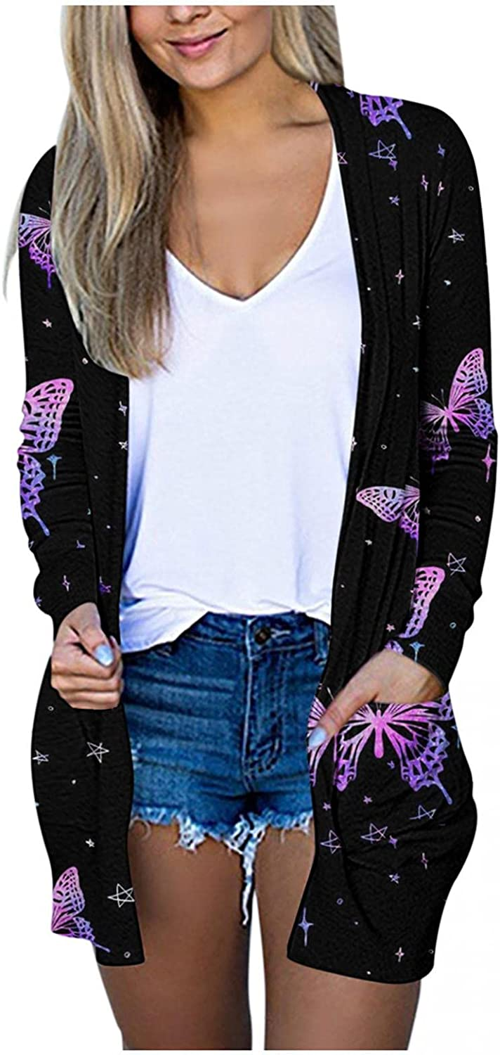 Mingleigo Cardigan for Women Casual Long Sleeve Lightweight Butterfly Printing Open Front Cardigan Sweaters Pockets Outerwear