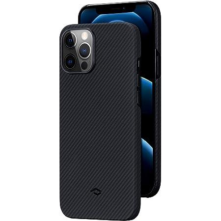 「PITAKA」Air Case iPhone 12 Pro 対応 ケース 600Dアラミド繊維製 カーボン風 デザイン 極薄(0.65mm) 軽量(8g) 耐衝撃 保護 カバー ワイヤレス充電対応 ミニマリスト シンプル 6.1インチ(黒/グレーツイル柄)