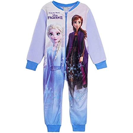 Disney Frozen 2 Kids All in One Girls Childrens Fleece Onesie Sleepsuit Pyjamas Lilac