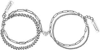أساور القلب المغناطيسي للنساء الرجال الهيب هوب طباخات مزدوجة الحبيب رابط سلسلة زوجين سوار المجوهرات