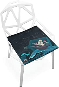 PLAO Chair Pads Mermaid And Ship Soft Seat Cushions Nonslip Chair Mats for Dining, Patio, Camping, Kitchen Chairs, Home Decor