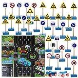 TOYANDONA 1 Juego de señales de tráfico para niños, Juguetes, Bloques de construcción de señales de tráfico de simulación de Madera