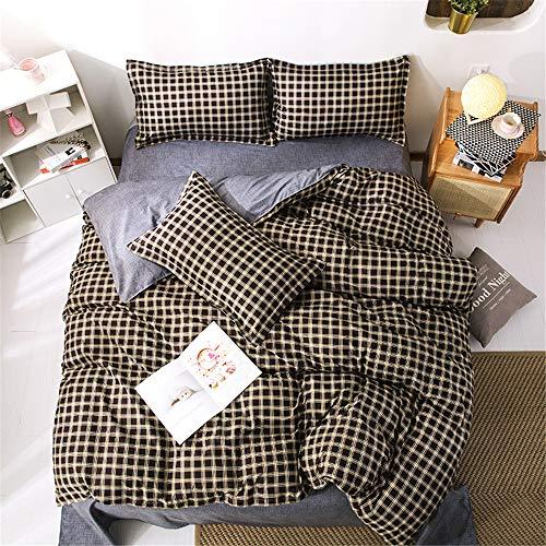 Treer Plaid Duvet Cover Set 3 Pieces, Nordic Style Single Double King Bedding Set Microfiber Soft Duvet Set with Zipper Closure Quilt Case and 2 Pillowcases (Coffee Plaid,200x200cm)