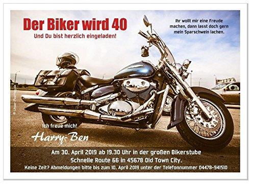 20 Einladungskarten für runden Geburtstag lustig witzig für Biker - kostenloser Eindruck Ihres Textes, Größe 17 x 12 cm