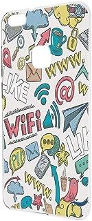 HUAWEI P10 lite WAS-LX2J ケース ハードケース 【落書き:ホワイト】 かわいい ファーウェイ スマホケース 携帯カバー [FFANY] social-h190521