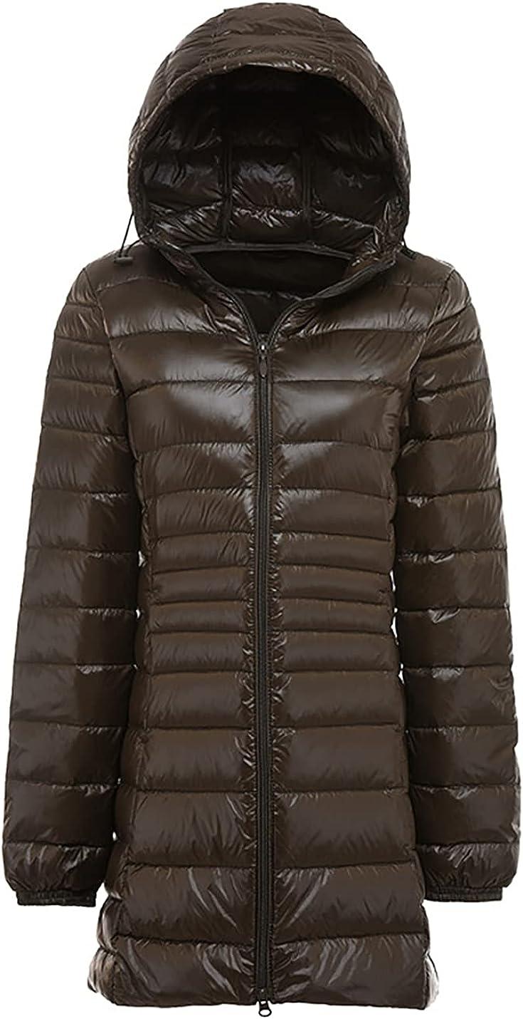 PEHMEA Women's Lightweight Packable Hooded Down Jacket Full Zip Mid Long Quilted Puffer Coat