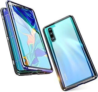 Jonwelsy 携帯電話 ケース Huawei P30 Lite に適し 360度 前面と背面 強化ガラス 磁気吸着 金属フレーム カバー 完全保護 耐衝撃 擦り傷防止 磁性技術 (青/黒)