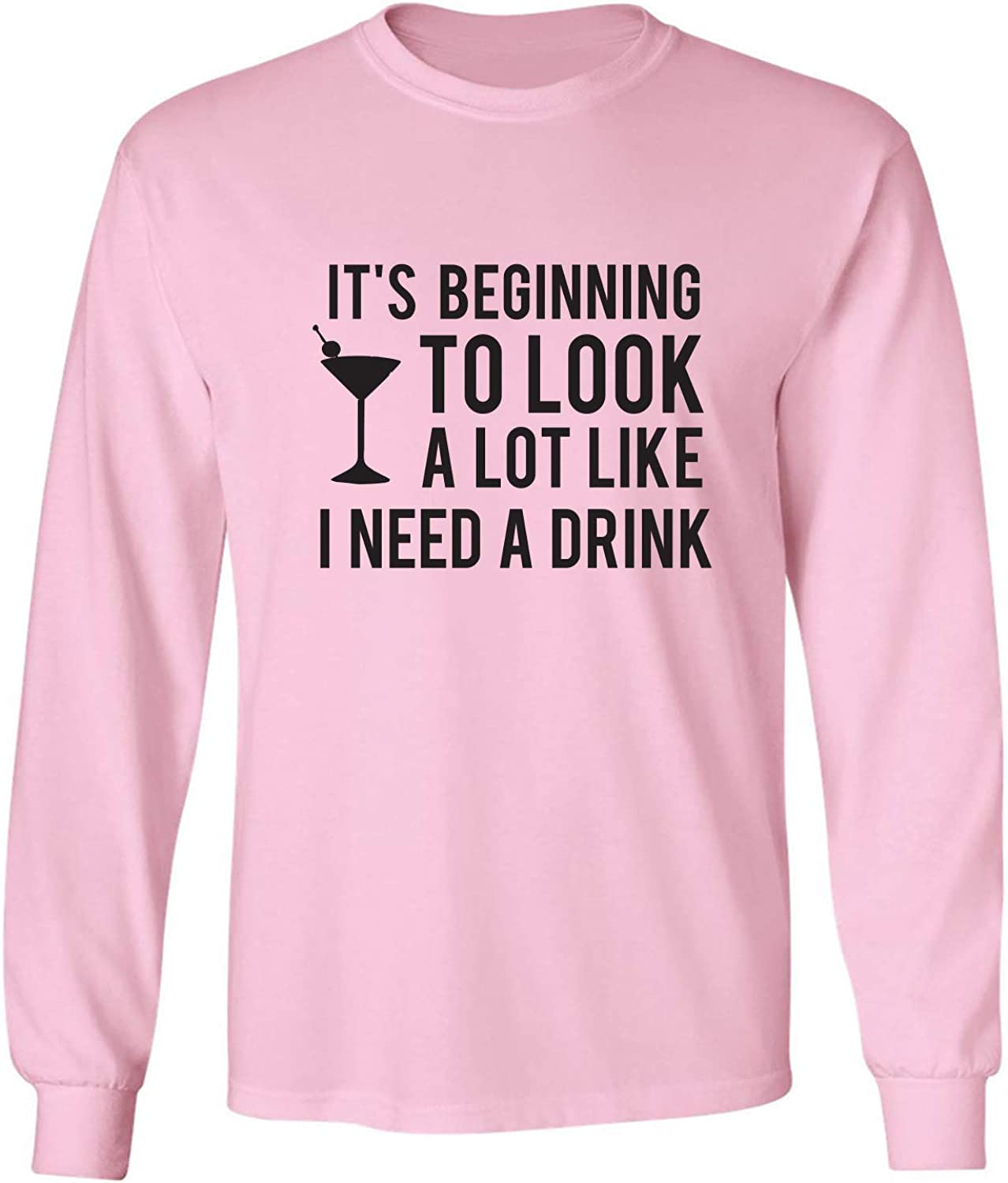 It's Beginning to Look A Lot Like Adult Long Sleeve T-Shirt in Pink - XXXXX-Large