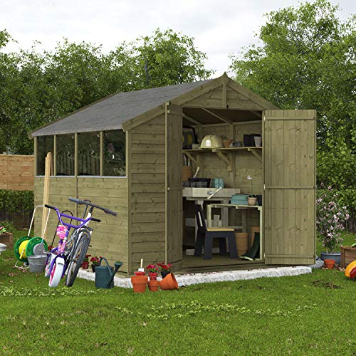 BillyOh Keeper Overlap Apex Shed | Pressure Treated Wooden Garden Storage | Windowed Shed with Roof and Floor Included (8x8)