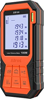 ALLROS Laser Measure 330ft M/In/Ft Digital Laser Distance Meter with Mute Function 2.0 inch Large Backlit LCD Display, Bubble Levels, Measure Distance,Area Volume and Pythagorean, Battery Included