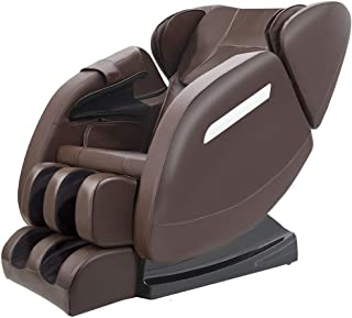 Massage Chair Recliner with Zero Gravity, Full body Air Pressure, Bluetooth, Heat and Foot Roller included, Brown