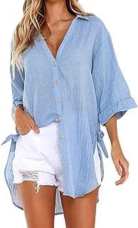 Womens Loose Button Long Shirt Dress Cotton Ladies Casual Tops T-Shirt Blouse ❤️ ZYEE
