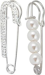 2x Spilla Pin Clip di Sicurezza in Lega Attrezzo Decorativo da Donna con Strass