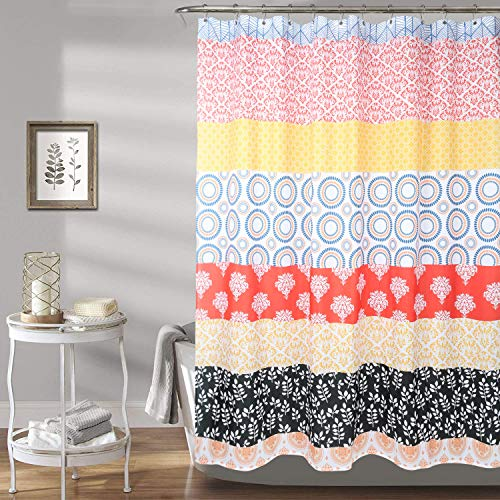Marasun Boho Shower Curtain with Hooks- Waterproof Modern Fabric Bohemian Shower Curtain, 72x 72inch