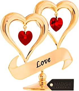 Matashi 24-Karat Gold-Plated Iron Red Crystal-Studded 'Love'-inscribed Double Heart Ornament
