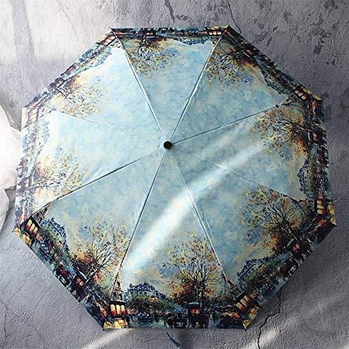 ZSDFQC Ombrellone da terrazzo Olio Artistico verniciatura Automatica ombrellone Pioggia for Le Donne Portatile, Modello-3 Ombrello Antivento (Color : Pattern5)