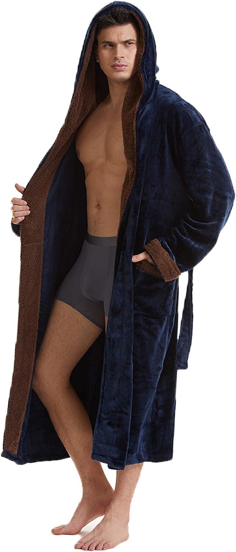 Mens Cheap mail order shopping Long Robes with Max 89% OFF Hood Full Hooded Length Bathrobe Fleece Plu