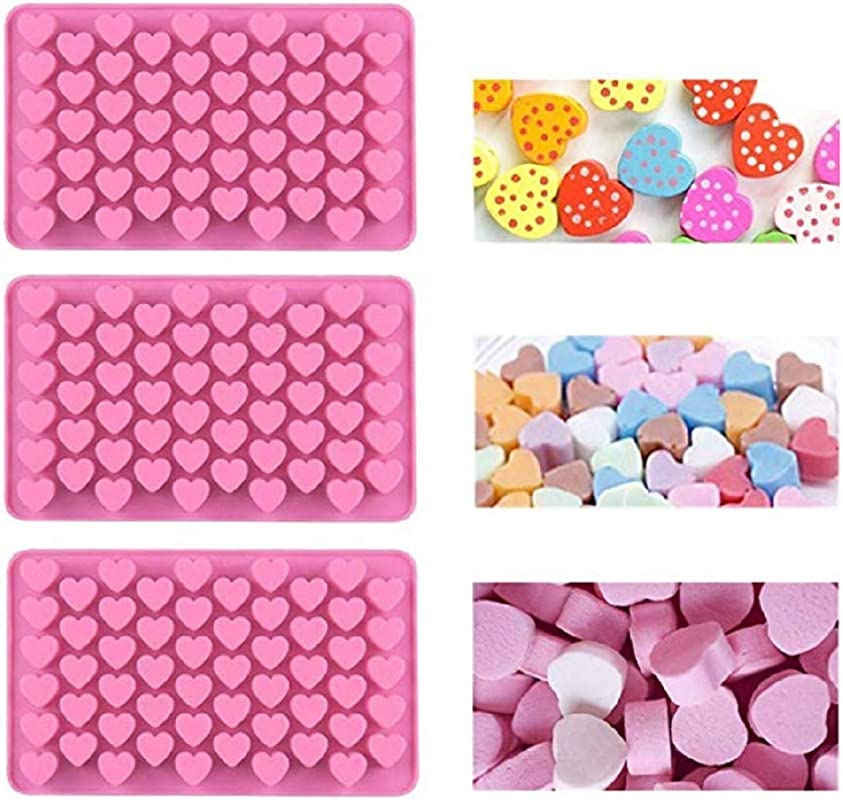 Zmgmsmh 3 Pack Silicone Candy Mold 55 Mini Heart Shape Cavity Nonstick Gummy Mold Ice Cube Tray Jell O Chocolate Mold