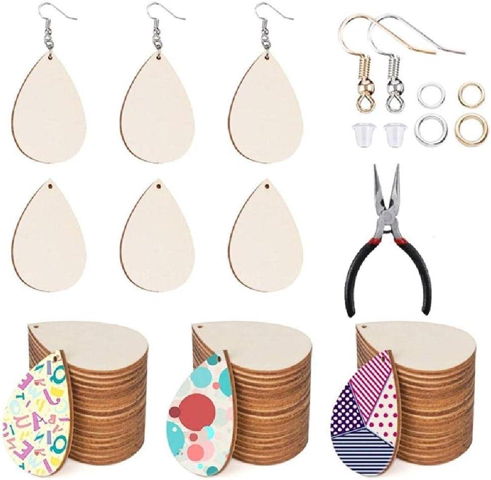 MEIXIU Unfinished [Alternative dealer] Wooden Earrings Blanks with Opening San Antonio Mall Ear Hooks