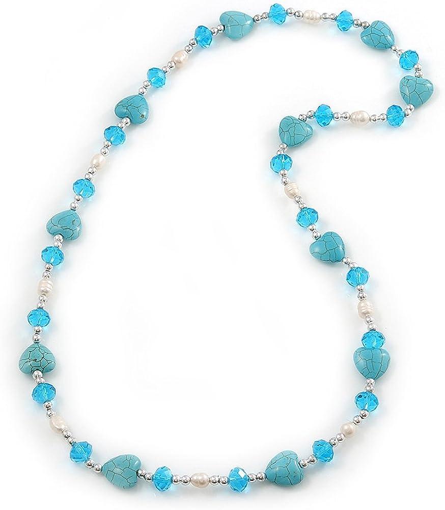 Avalaya Turquoise Heart Shape Stone, Freshwater Pearl & Acrylic Bead Long Necklace - 76cm Length