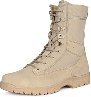 LUDEY Womens Motorcycle Boot Ankle Boots Military Combat Boots Tan A-681