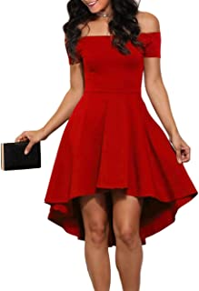 Womens Off The Shoulder Skater High Low Homecoming Party Cocktail Dress