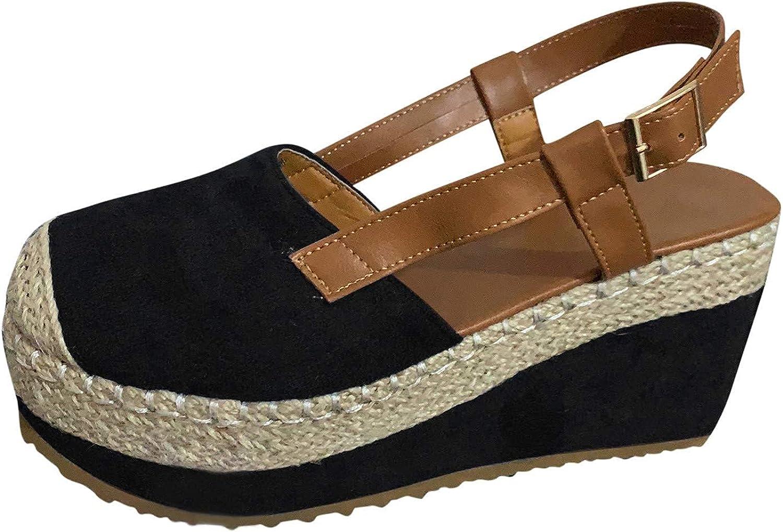 Espadrille Wedge sandals for women Closed Toe Platform Casual Summer Mid Heel Slingback Comfort Sandals Black Brown US4-12