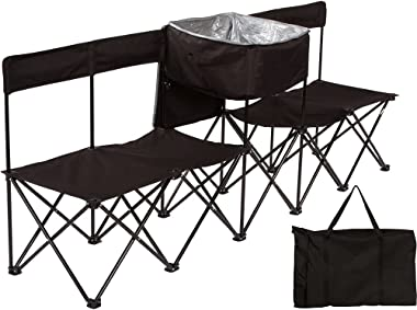 10' Portable Folding Team Sports Sideline Bench with Attached Cooler & Slat Back by Trademark Innovations