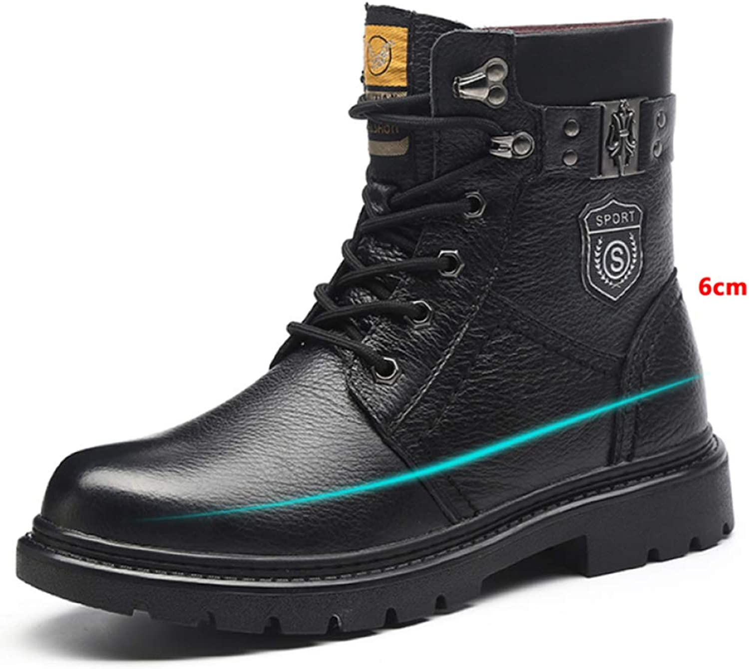 GTYW, Men's Winter Martin Boots, Waterproof Men's Warm Casual High shoes, Leather Boots, 37-45,Black-6cm-37