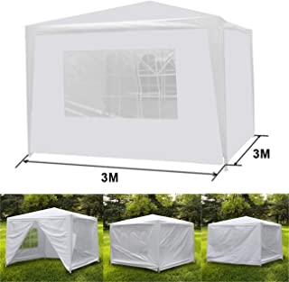 HomGarden 10' X 10' Outdoor White Gazebo Canopy Tent with 4 Sidewalls & Windows for Party Wedding Cater Events Pavilion Beach BBQ