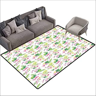 Anti-Slip Coffee Table Floor Mats Luau,Hawaiian Flower Branches with Exotic Giant Leaves and Birds Botany Print,Baby Pink Lime Green 80