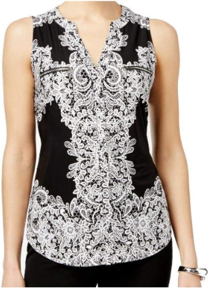 Inc International Concepts Printed Top Split-Neck Black L Soldering shopping