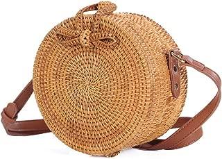 Sturdy PU Shoulder Strap Adjustable Length Hand-Woven Rattan Handbag Round Cross-Body Handbag Fashion Beach Handbag Large Capacity (Color : Brown, Size : M)
