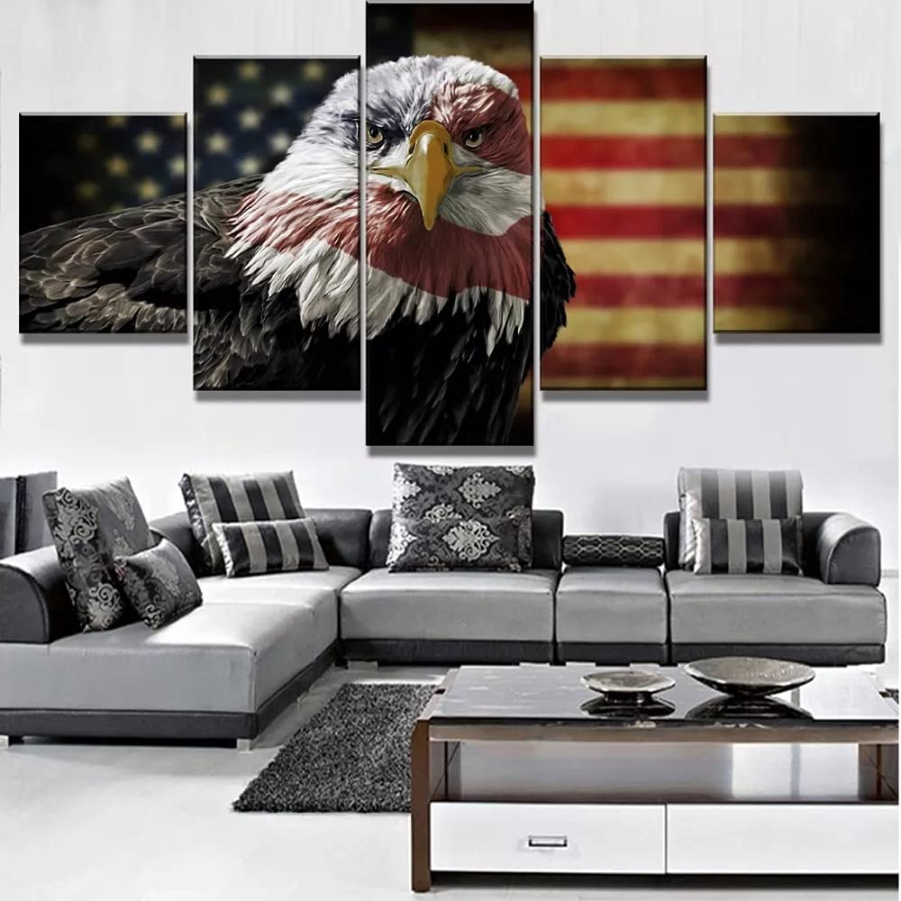 FZSWD 5 Piece HD Print American Max Price reduction 86% OFF Canva Painting Eagle Poster Flag