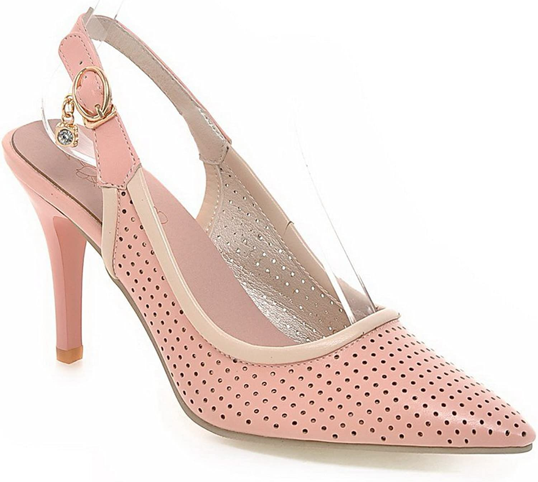 1TO9 Ladies Studded Rhinestones Metal Buckles Outdoor Pink Polyurethane Pumps-shoes - 7.5 B(M) US