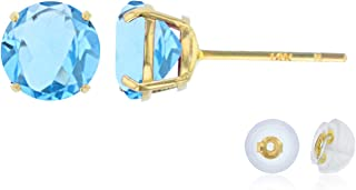 Solid 14K Yellow, White or Rose Gold 4mm Round Genuine Gemstone Birthstone Prong Set Stud Earrings For Women and Girls