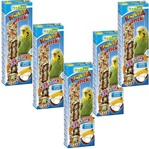 NESTOR Vogelfutter Wellensittich mit Banane + Kokos 5 x 2 Stück Packungen Knabbersticks