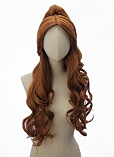 Long Brown Wavy Curly Wig for Anime Cosplay Costume Party Wigs