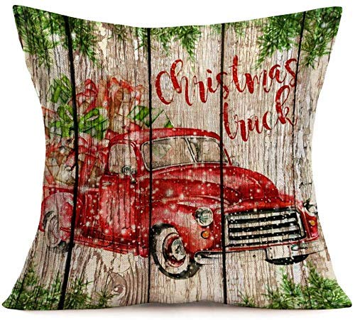 LAKILAN Merry Christmas Decorative Pillow Covers Red Car Tree Gifts With Wood Grain Christmas Truck Lettering Throw Pillow Case Cushion Cover Home Sofa