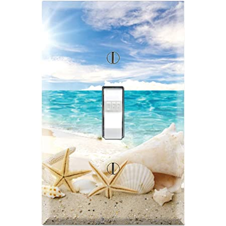 Graphics Wallplates Seashells Ocean White Sand Beach Single Toggle Wall Plate Cover Amazon Com