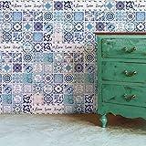 Walplus Adhesivos de pared extraíble Autoadhesivo Arte Mural VINILO DECORACIÓN HOGAR BRICOLAJE Estar Cocina Dormitorio Decor papel pintado regalo Inglés frase Vintage Azul Azulejo Pegatina - 20 cm x