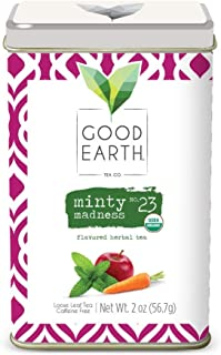 Good Earth Tea Minty Madness - Premium Organic Loose Leaf Herbal Tea - Brightness of peppermint with sweet notes of organic apple and carrot and hints of allspice - Caffeine-free