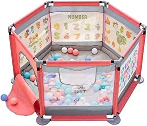LXDDP Playpen Safety Baby Playpen with Ball  Anti-collision Playard Mattress with Bag Door  Activity Center Pink Toddlers Room Divider Play Pen